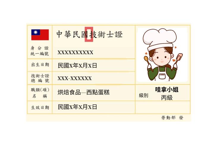 烘焙丙級技術士證